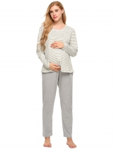 Gray Long Sleeve Striped T-Shirt Maternity Breastfeeding Pajamas Set