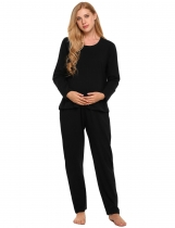 Black Solid Long Sleeve Maternity Nursing Breastfeeding Pajamas Set