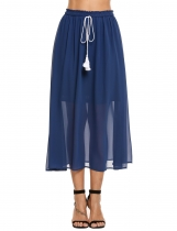 Dark blue Chiffon Elastic Lace Up Waist Pleated Beach Skirt