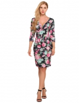 Surplice Neck Floral Peplum Bodycon Dress