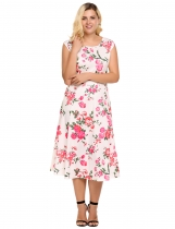 Plus Size Vintage Style Floral Sleeveless Swing Dress