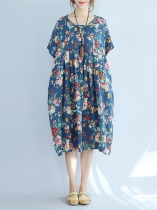 O-Neck Pockets Side Floral Loose Fit Plus Size Dress