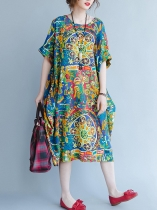 Half Sleeve O-Neck Print Loose Dress With Pockets