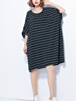 O-Neck Half Sleeve Stripes Loose Casual Dress