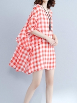 Plaid Ruffle Sleeve Vintage Style Large Hem Loose Dress