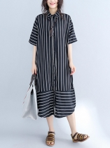 Stripes Half Sleeve Turn-down Collar Loose Dress