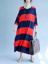 Stripes 3/4 Sleeve O-Neck Casual Loose Dress