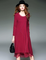 Wine red D. FANNI O-Neck Long Sleeve Patchwork Contrast Color Casual Dresses