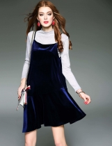 Blue D. FANNI Set Stand Collar Long Sleeve Top with Cami Casual Dresses