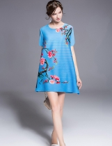 KK2 Vintage Print Pleated Loose Short Sleeve Dress