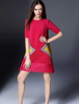 KK2 Pleated Patchwork Contrast Color Half Sleeve Dress