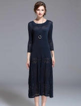 KK2 Loose Crew Neck 3/4 Sleeves Long Dress