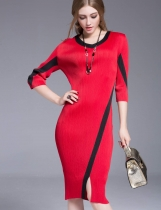 KK2 O-Neck Half Sleeves High Resilience Midi Dress
