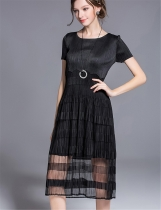 KK2 See-through Swing O-Neck Pleated Midi Dress