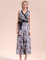 Sleeveless V-Neck Floral Empire Wide Leg Pants Jumpsuits