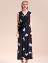 V-Neck Sleeveless Empire Floral Wide Leg Pants Jumpsuits