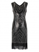Silver 1920s Sleeveless Sequin Beads Embellished Fringed Flapper Pencil Party Dress