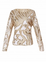 Apricot Vintage Style O-Neck Long Sleeve Sequin Casual Top