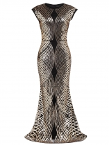 Women 1920's Vintage Style Print Sequin Sleeveless O Neck Flapper Party Dress