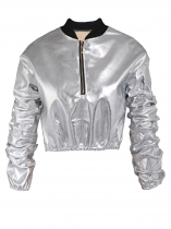 Silver Casual Long Sleeve Shinny Cropped Pullover Sweatshirt Synthetic Leather Jacket