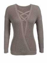 Khaki Knitted Cross Front V-Neck Long Sleeve Pullover Sweater