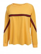 Yellow Round Neck Long Batwing Sleeve Stripe Pullover Sweatshirt