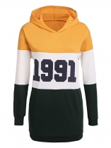 Yellow Long Sleeve Letter Print Contrast Color Patchwork Hooded Sweatshirt Pullover Hoodie