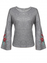 Mulheres Casual Drop Shoulder Long Flare Sleeve Floral Bordado Pullover Knit Top T-Shirt