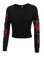 Black Round Neck Long Sleeve Floral Embroidery Cropped Pullover Sweatshirt