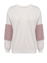 White Round Neck Plush Long Sleeve Pullover Sweatshirt