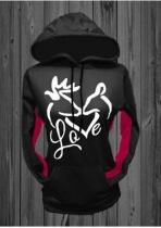 Black Christmas Love Kiss Reindeer Printed Kangaroo Pocket Chic Hoodie