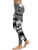 Black Mid Waist Floral Printing Fitness Gym Yoga Elastic Leggings