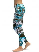 Blue Mid Waist Floral Printing Fitness Gym Yoga Elastic Leggings