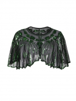 Green Women Fashion Beaded Sequin Deco Shawl Evening Flapper Cover up