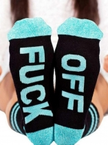 Blue FUCK-OFF Letter Socks