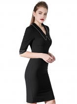 Women Elegant Style Solid V Neck Three-quarter Sleeve Bodycon Pencil Midi Dress
