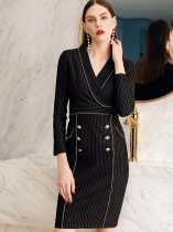 Women Elegant Style Stripe V Neck Long Sleeve Bodycon Pencil Midi Dress