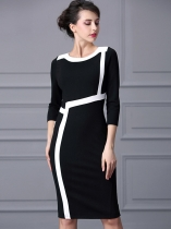 Women Elegant Style Patchwork Three-quarter Sleeve Bodycon Pencil Midi Dress