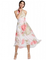 Ladies Chiffon Sleeveless Flouncing Floral Long Sundress