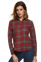 Red Gray Buttoned Cotton Lapel Plaids Checks Flannel Shirts