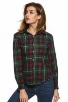 Green Red Buttoned Cotton Lapel Plaids Checks Flannel Shirts