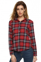 White red Frauen Taste Baumwolle lässig Revers Plaids Kontrollen Flannel Top Shirt Blouse