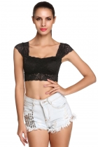 Sexy Lace Crop Top Camisole Pad Hollow-out Lace Soft Vest Bra for Women Built in Bra bustier Tank Tops