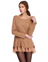 Khaki Long Sleeve Knit Wool Bowknot Tops Loose Casual Dress