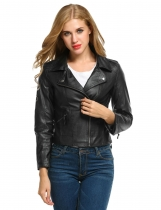 Black Faux Leather Motorcycle Slim Jacket
