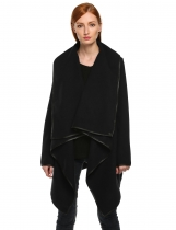 Black Long Sleeve Trench Woolen High Quality Coat