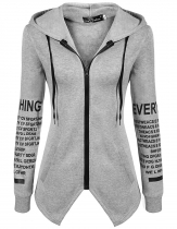 Gray Hooded Letters Print Zipper Pocket Irregular Pullover Hoodie