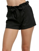 Black Fashion Women Casual Summer Beach Solid with Belt Shorts