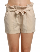 Khaki Fashion Women Casual Summer Beach Solid with Belt Shorts