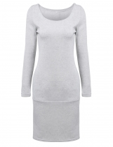 Gray Women Long Sleeve O Neck Casual Pullover Sweatshirt Dress
